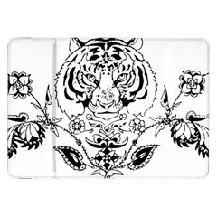 Tiger Animal Decoration Flower Samsung Galaxy Tab 8 9  P7300 Flip Case