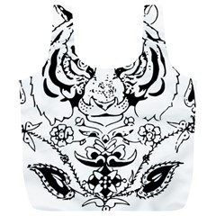 Tiger Animal Decoration Flower Full Print Recycle Bags (l)