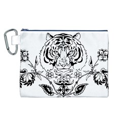 Tiger Animal Decoration Flower Canvas Cosmetic Bag (l)