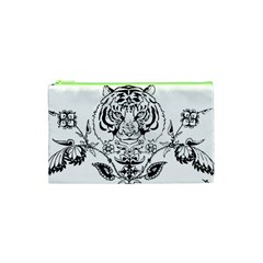 Tiger Animal Decoration Flower Cosmetic Bag (xs)