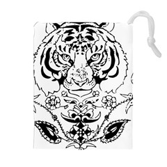 Tiger Animal Decoration Flower Drawstring Pouches (extra Large)
