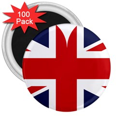 Uk Flag United Kingdom 3  Magnets (100 Pack)