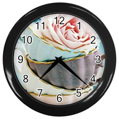 Tea Cups Wall Clocks (black)