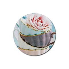 Tea Cups Rubber Round Coaster (4 Pack)