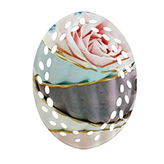 Tea Cups Oval Filigree Ornament (two Sides)