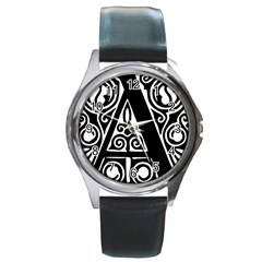 Alphabet Calligraphy Font A Letter Round Metal Watch