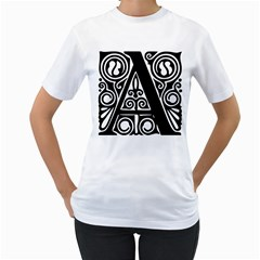 Alphabet Calligraphy Font A Letter Women s T Shirt (white) (two Sided)