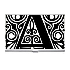 Alphabet Calligraphy Font A Letter Business Card Holders
