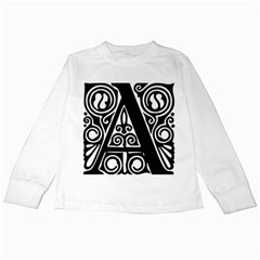 Alphabet Calligraphy Font A Letter Kids Long Sleeve T Shirts