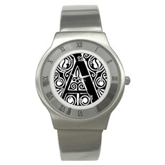 Alphabet Calligraphy Font A Letter Stainless Steel Watch