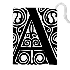 Alphabet Calligraphy Font A Letter Drawstring Pouches (xxl)