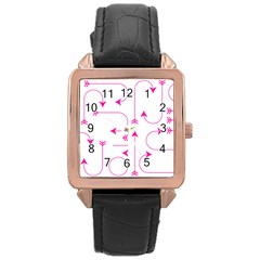 Arrows Girly Pink Cute Decorative Rose Gold Leather Watch