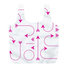 Arrows Girly Pink Cute Decorative Full Print Recycle Bags (l)