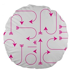 Arrows Girly Pink Cute Decorative Large 18  Premium Flano Round Cushions
