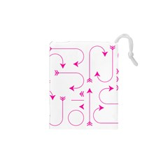 Arrows Girly Pink Cute Decorative Drawstring Pouches (xs)