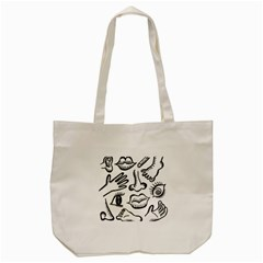Anatomy Icons Shapes Ear Lips Tote Bag (cream)