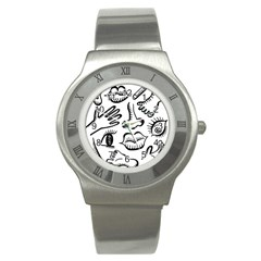 Anatomy Icons Shapes Ear Lips Stainless Steel Watch