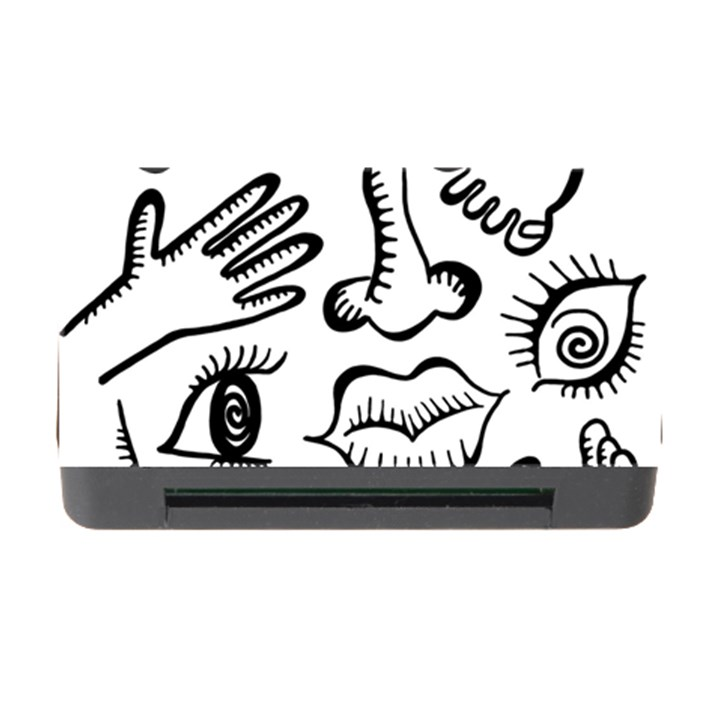 Anatomy Icons Shapes Ear Lips Memory Card Reader with CF