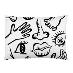 Anatomy Icons Shapes Ear Lips Pillow Case (two Sides)