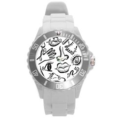 Anatomy Icons Shapes Ear Lips Round Plastic Sport Watch (l)