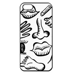 Anatomy Icons Shapes Ear Lips Apple Iphone 5 Seamless Case (black)