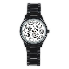 Anatomy Icons Shapes Ear Lips Stainless Steel Round Watch