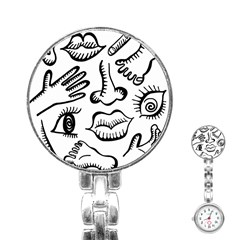 Anatomy Icons Shapes Ear Lips Stainless Steel Nurses Watch
