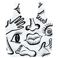 Anatomy Icons Shapes Ear Lips Full Print Recycle Bags (l)