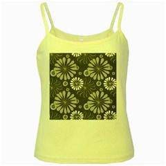 Floral Pattern Floral Background Yellow Spaghetti Tank