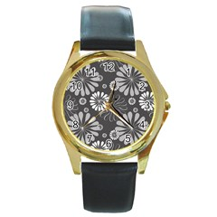 Floral Pattern Floral Background Round Gold Metal Watch