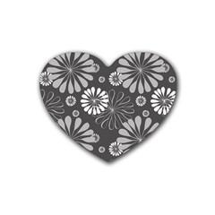 Floral Pattern Floral Background Heart Coaster (4 Pack)