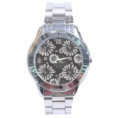 Floral Pattern Floral Background Stainless Steel Analogue Watch