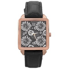 Floral Pattern Floral Background Rose Gold Leather Watch