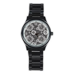 Floral Pattern Floral Background Stainless Steel Round Watch