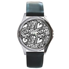 Seamless Tile Background Abstract Round Metal Watch