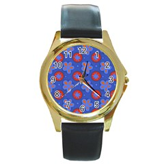 Seamless Tile Repeat Pattern Round Gold Metal Watch