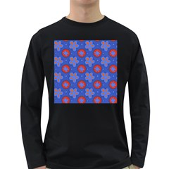 Seamless Tile Repeat Pattern Long Sleeve Dark T Shirts