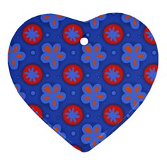 Seamless Tile Repeat Pattern Heart Ornament (two Sides)