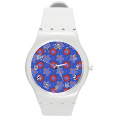 Seamless Tile Repeat Pattern Round Plastic Sport Watch (m)