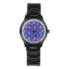 Seamless Tile Repeat Pattern Stainless Steel Round Watch