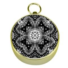 Mandala Calming Coloring Page Gold Compasses