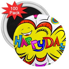 Happy Happiness Child Smile Joy 3  Magnets (100 Pack)