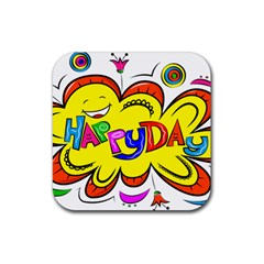Happy Happiness Child Smile Joy Rubber Square Coaster (4 Pack)