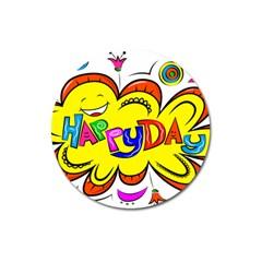 Happy Happiness Child Smile Joy Magnet 3  (round)