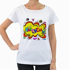 Happy Happiness Child Smile Joy Women s Loose Fit T Shirt (white)
