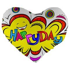 Happy Happiness Child Smile Joy Large 19  Premium Heart Shape Cushions