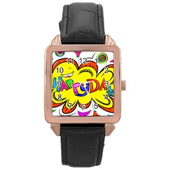 Happy Happiness Child Smile Joy Rose Gold Leather Watch