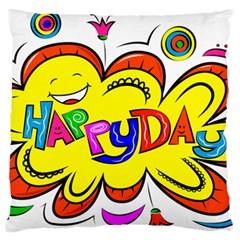 Happy Happiness Child Smile Joy Large Flano Cushion Case (two Sides)
