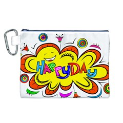 Happy Happiness Child Smile Joy Canvas Cosmetic Bag (l)