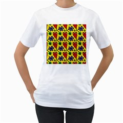 Seamless Tile Repeat Pattern Women s T Shirt (white) (two Sided)